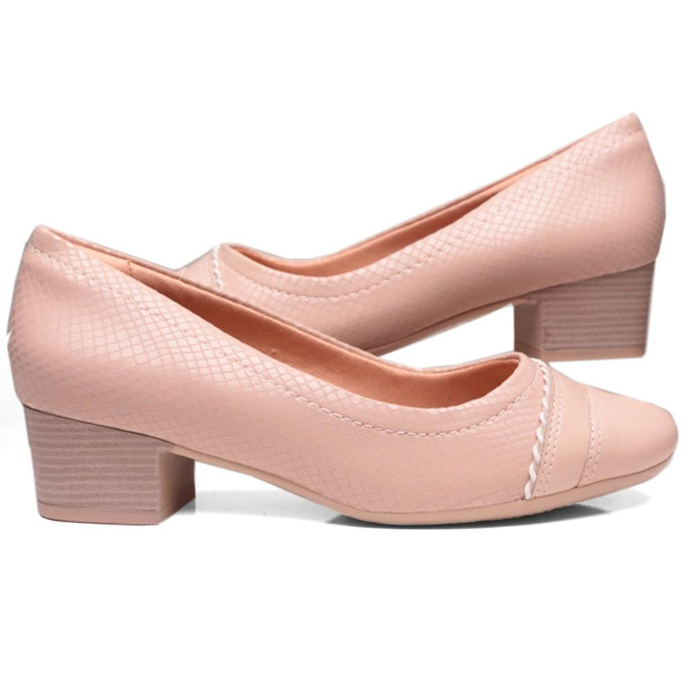 Sapato Feminino Comfortflex Salto Grosso 19-86302
