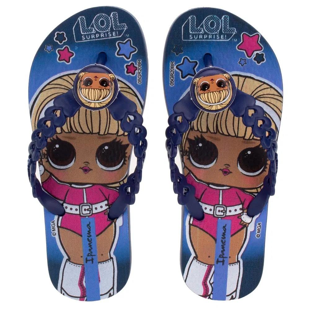Chinelo Infantil Ipanema LoL Surprise 26587 Azul Meninas