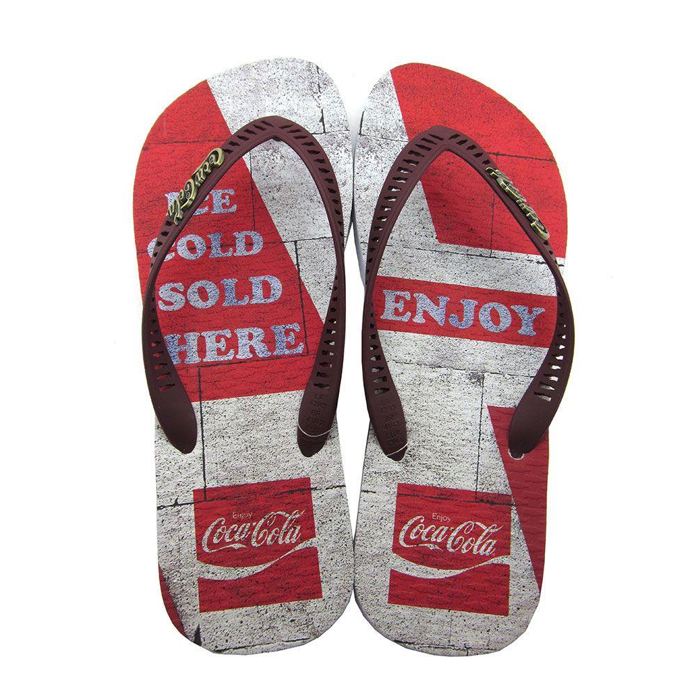 Chinelo Masculino Coca-Cola Brick CC2760 - Branco/Vermelho