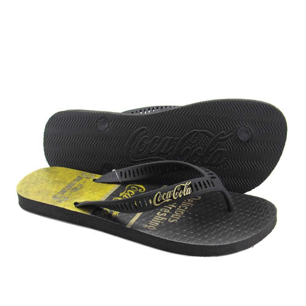 Chinelo Masculino Coca-Cola Fountains CC2644 - Preto/Amarelo