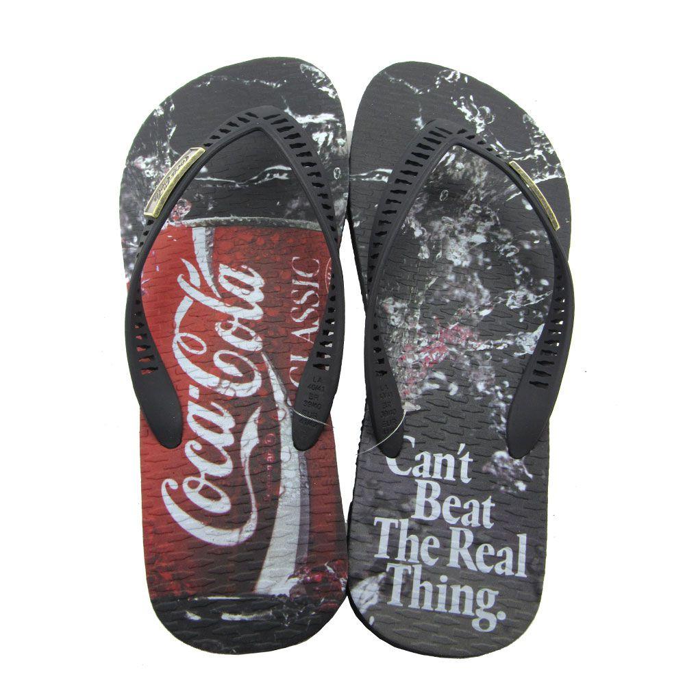 Chinelo Masculino Coca-Cola Beat CC2647 - Preto/Vermelho