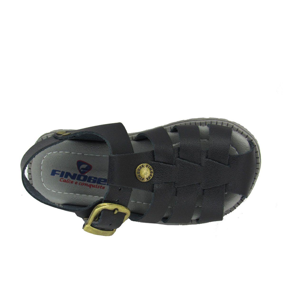 Sandália Infantil Masculino em Couro Finobel ST51 Preto