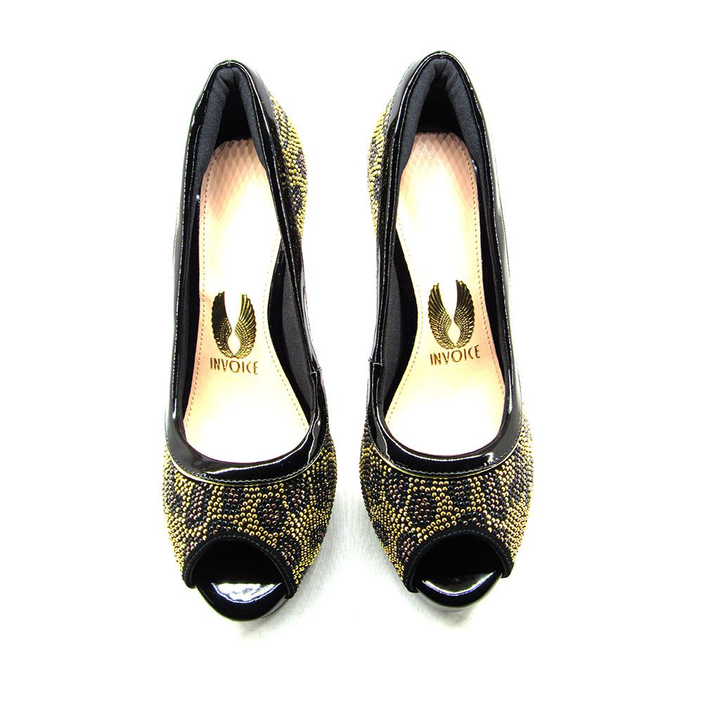 Sapato Feminino Peep Toe Invoice 511003 Salto Alto