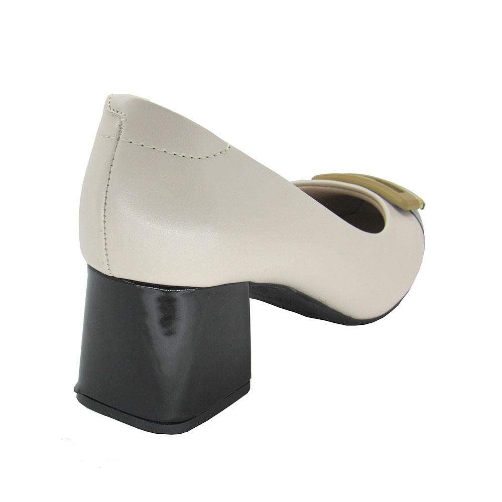 Sapato Feminino Salto Grosso Modare 7352102 Creme