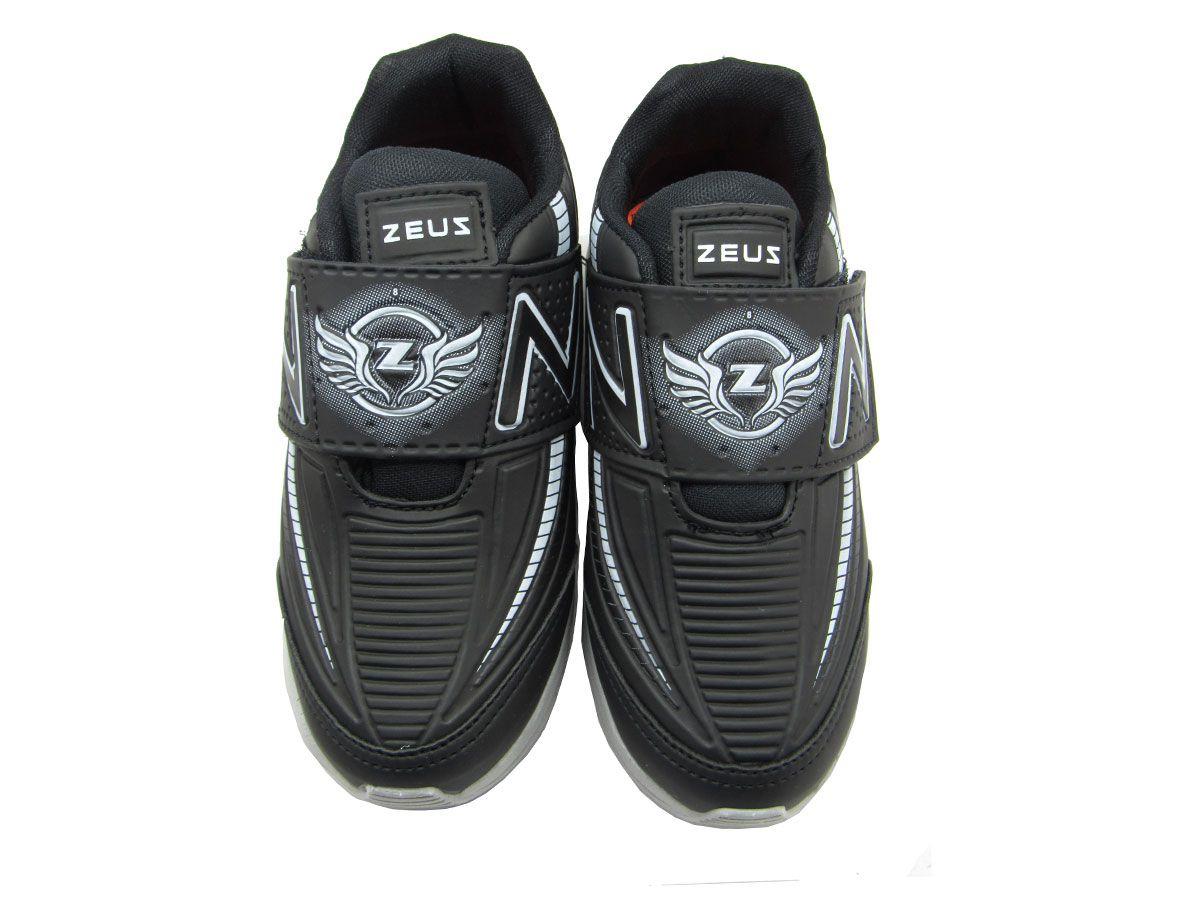 Tênis Esportivo Infantil Zeus 8X Velcro - Preto