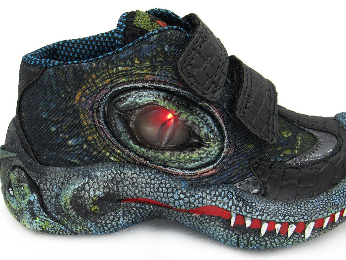 Tênis Infantil Adventure Dino World Vissi L124D Preto C/ Led