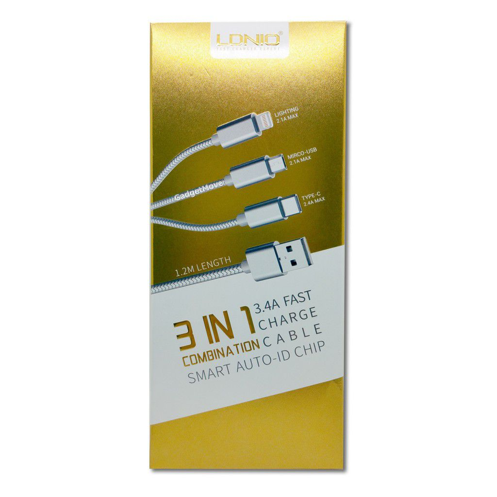 Cabo usb ldnio lc-85C 3IN1 ios/android/type - ouro