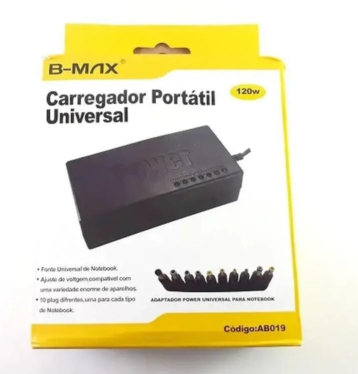 Carregador portátil universal de notebook AB019 c/ 10 plugs (120w)- B-MAX