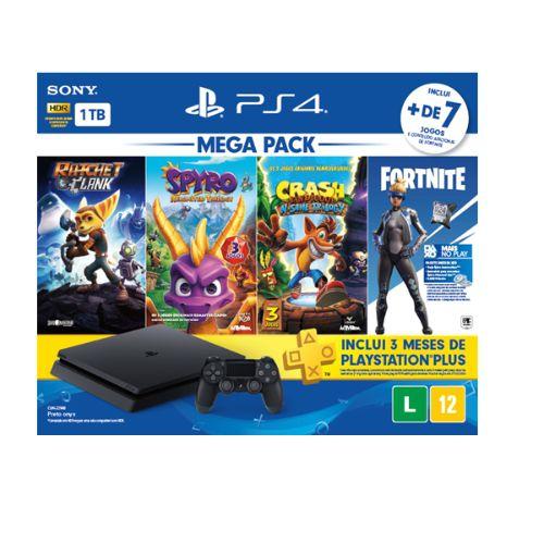 Console playstation 4 - mega pack family c/ 7 jogos, 1 joystick, 3 meses ps+ sony