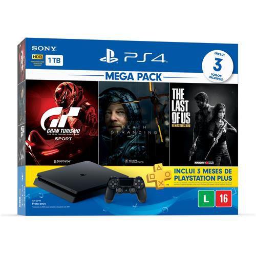 Console Playstation 4 Slim 1TB Bundle 10 + Gran Turismo Sport + Death Stranding + The Last of Us Remasterizado + 3 Meses Playstation Plus