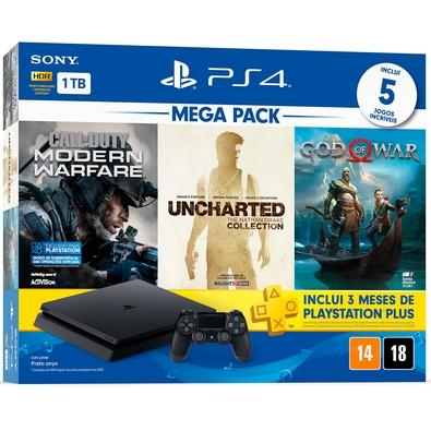 Console playstation 4 slim 1tb bundle 7 + call of duty: modern warfare + uncharted: nathan drake collection + god of war 4 + 3 meses playstation plus
