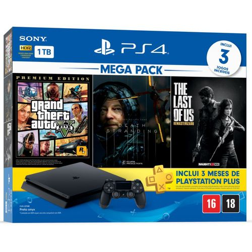 Console playstation hits 1 tb bundle 9 - gta v + death stranding + the last of us - ps4
