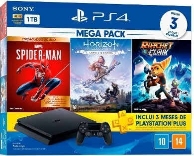 Console PS4 Hits 1TB Bundle 15 -Spider-Man Goty, Horizon Zero Dawn Complete Edition, Ratchet&Clank