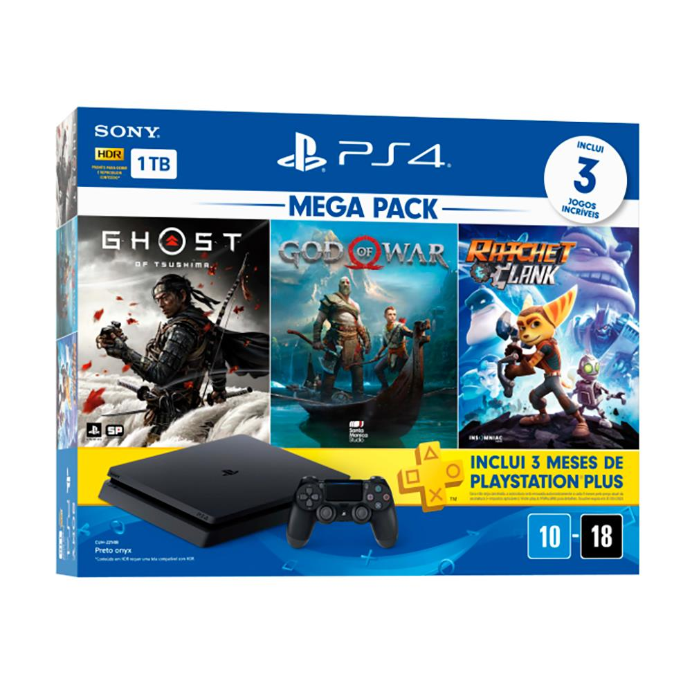 Console PS4 Hits 1TB Bundle 18 - Ghost of Tsushima, God of War, Ratchet&Clank
