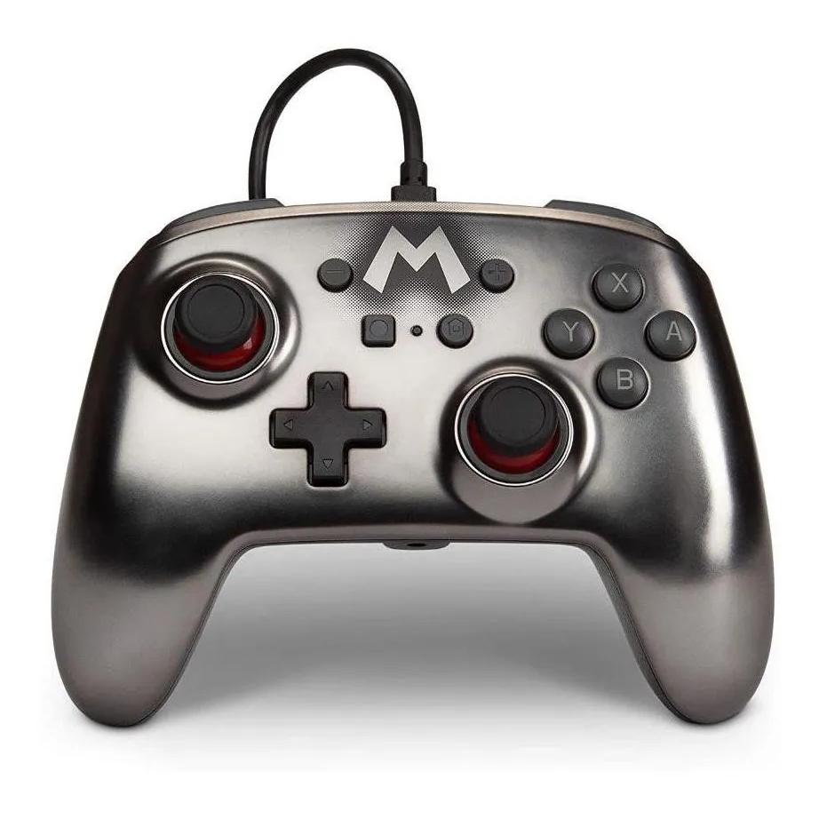 Controle Para Nintendo Switch Powera Com Fio Mario Metálico