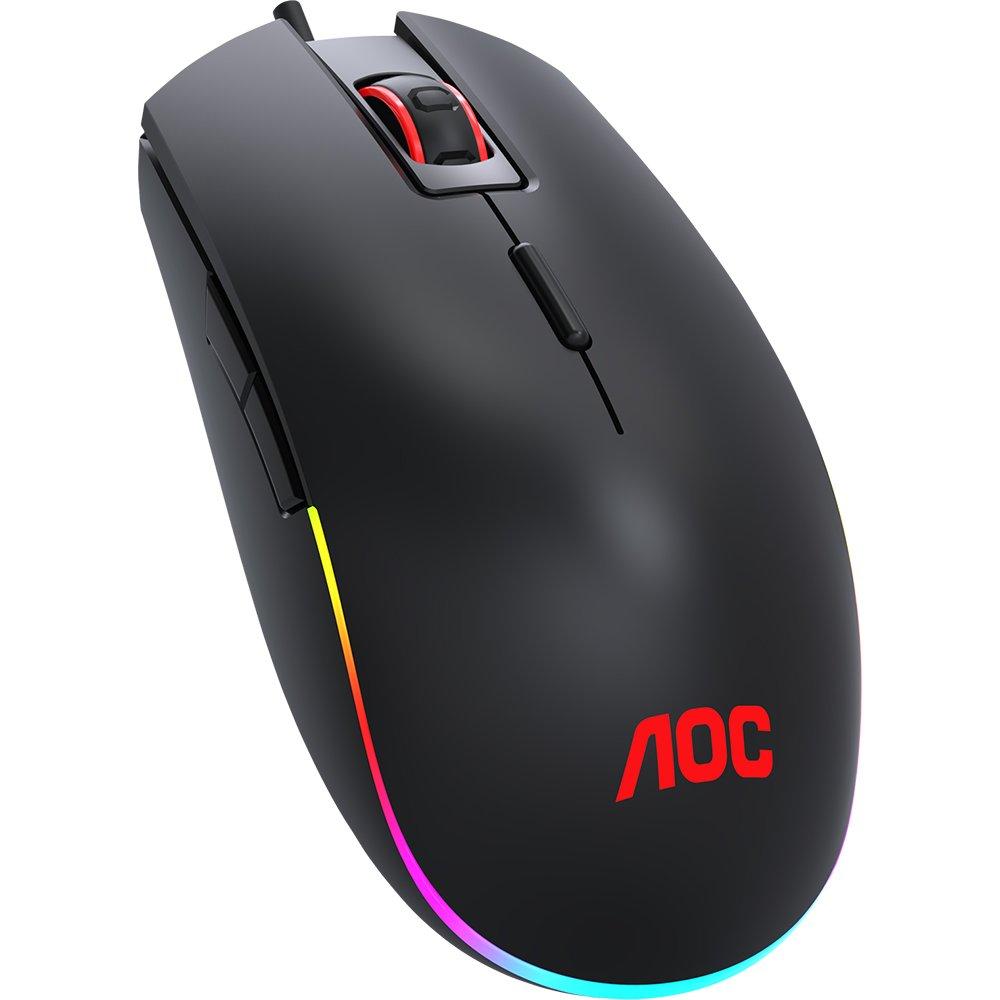 Mouse Gamer AOC GM500 Ambidestro, RGB, 5000 DPI, 8 Botões - GM500DRBB