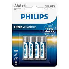 Pilha philips ultra alkalina AAA lr03 e4b c/ 4