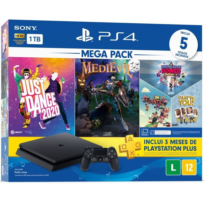 Playstation 4 Slim 1TB Mega Pack 11 Just Dance 2020 + MediEvil + Knowledge is Power + Frantics + That's You!