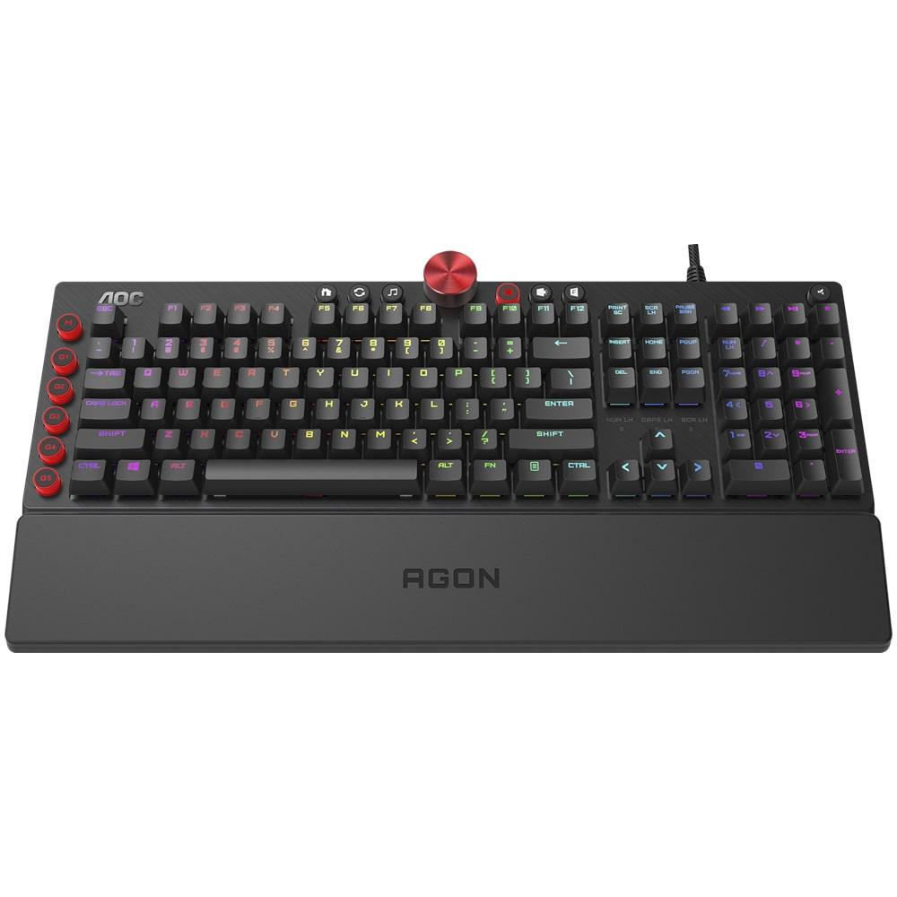 Teclado Mecânico Gamer AOC Agon AGK700, RGB, Switch Cherry MX Blue, ABNT2 - AGK700D81B