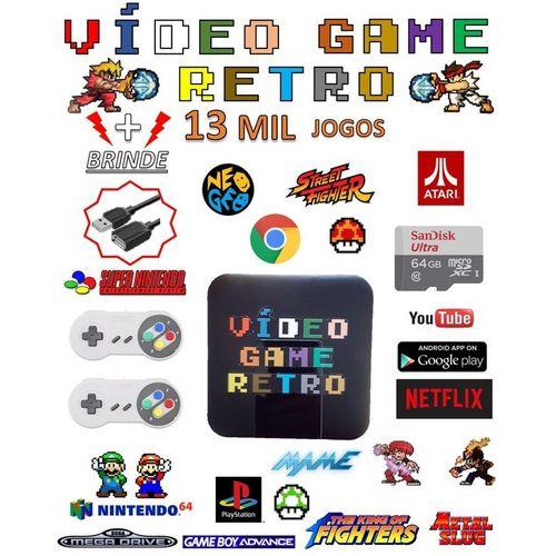 Video game retro 64gb com 13 mil jogos contem 2 controles ps2