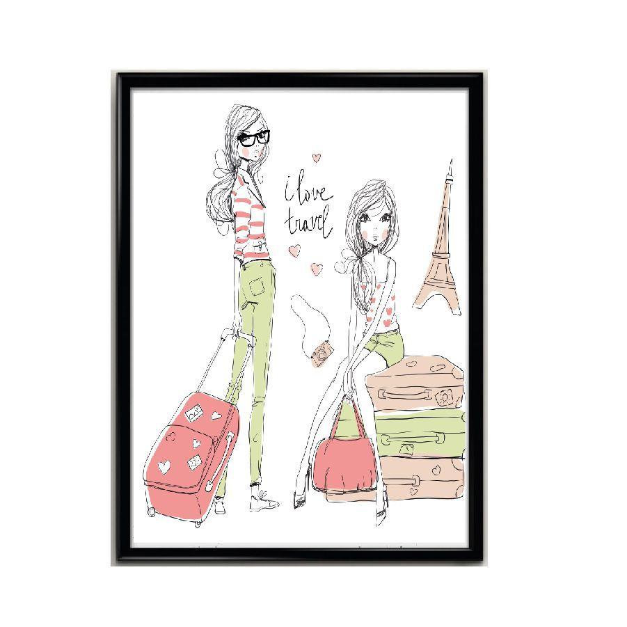 Kit Decoração Travel Girl para Quarto Moderno de Menina