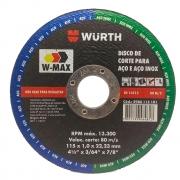 Disco de Corte para Aço e Aço Inox 4.1/2'' 115 x 1,0 x 22,23 mm Wurth W-Max