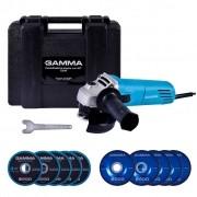 Esmerilhadeira Angular 4.1/2'' c/Kit Maleta 10 Discos e Acessórios 750W 127V Gamma G1910K/BR1