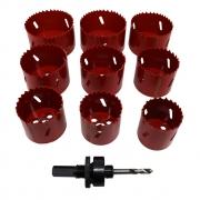 Kit Serra Copo Bimetal 10 Peças 44 a 72mm c/  Haste Lotus