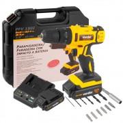 Parafusadeira e Furadeira c/ Impacto c/ 2 Baterias e Acessórios 18V Vonder PFV180I