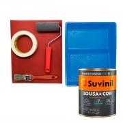 Tinta Parede Lousa & Cor Riscar Giz  Magia Azul 800ml c/ Kit