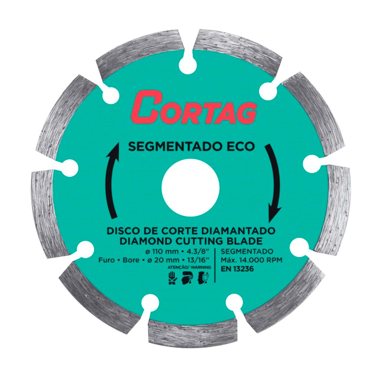 Disco Diamantado Segmentado Eco 110mm x 20mm Cortag