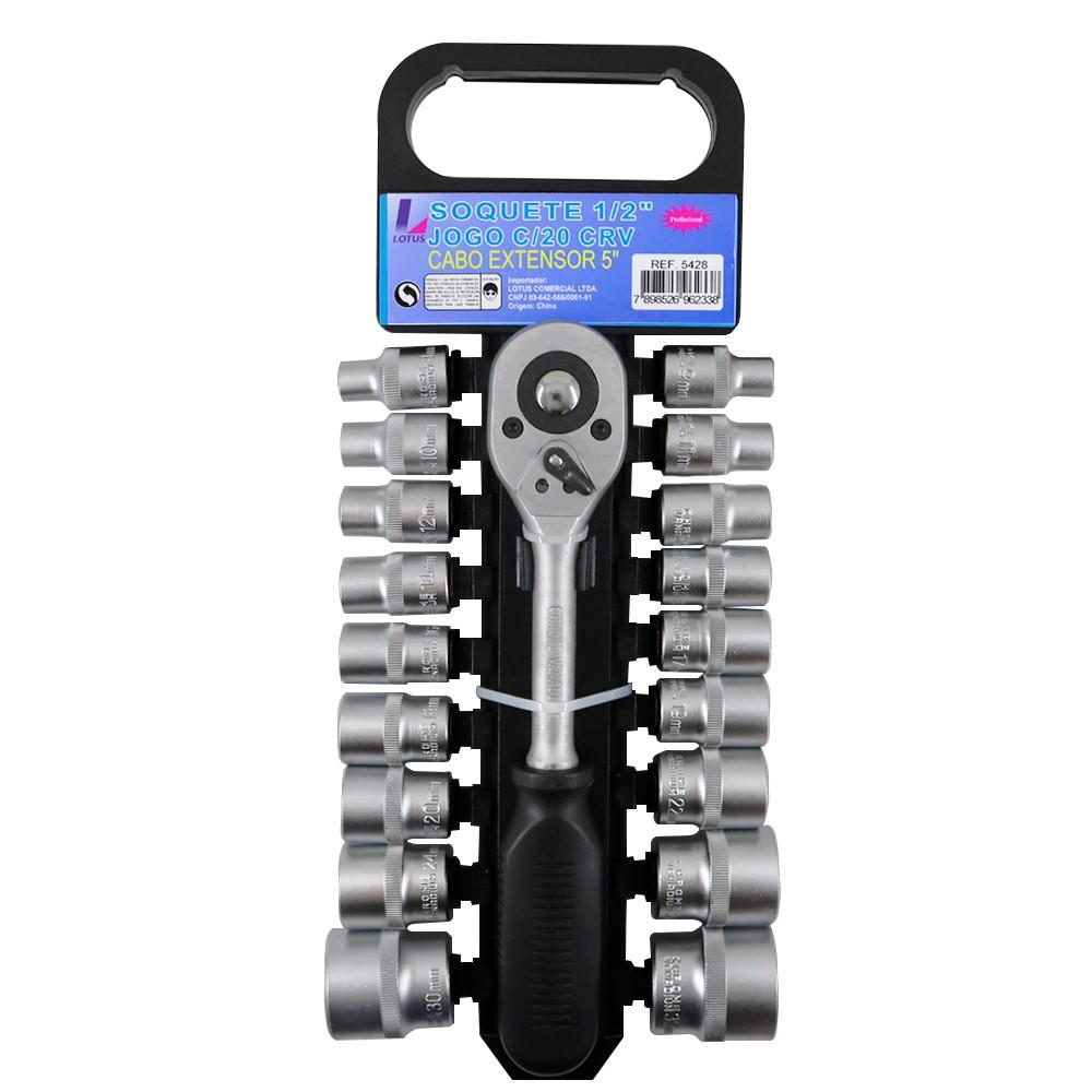 Jogo de 18 Soquetes 8mm ao 32mm Sextavados 1/2'' com Chave Catraca e Extensor de 5'' Lotus