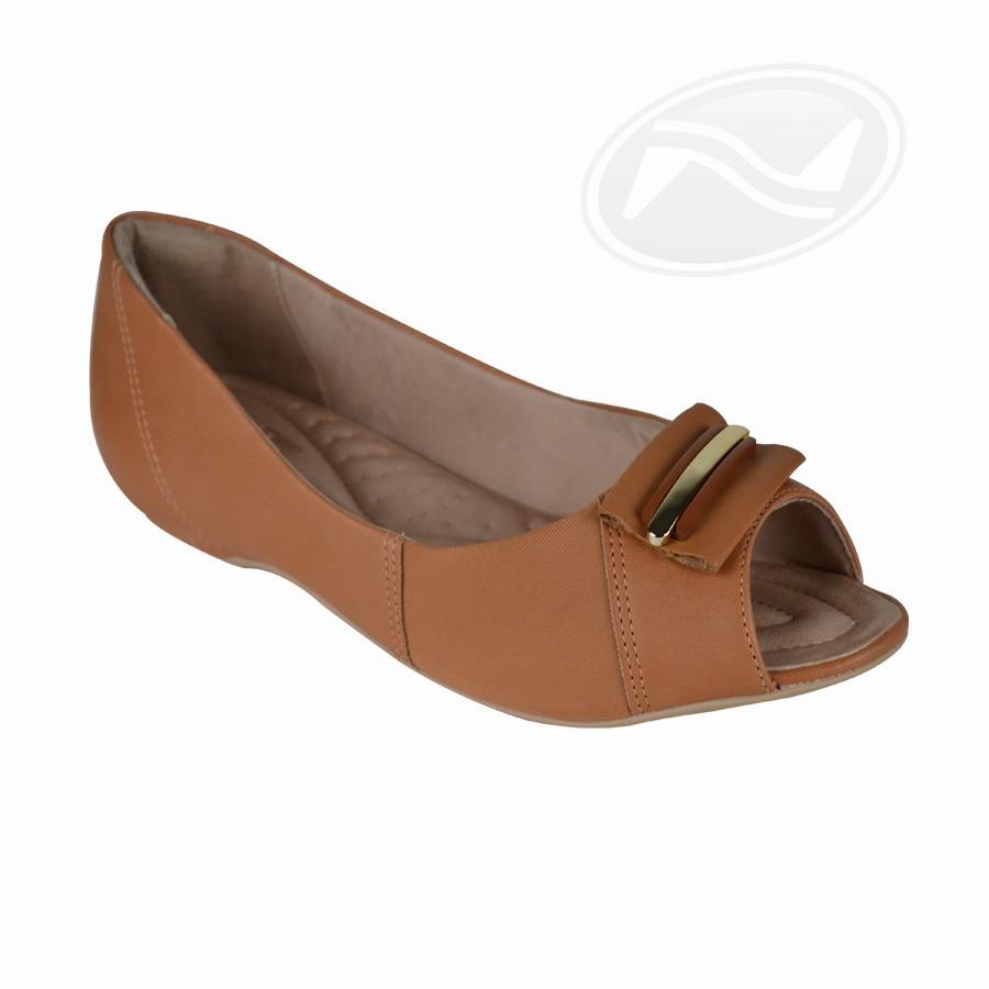 Sapato Peep Toe Salto Baixo Comfort Flex 1876305