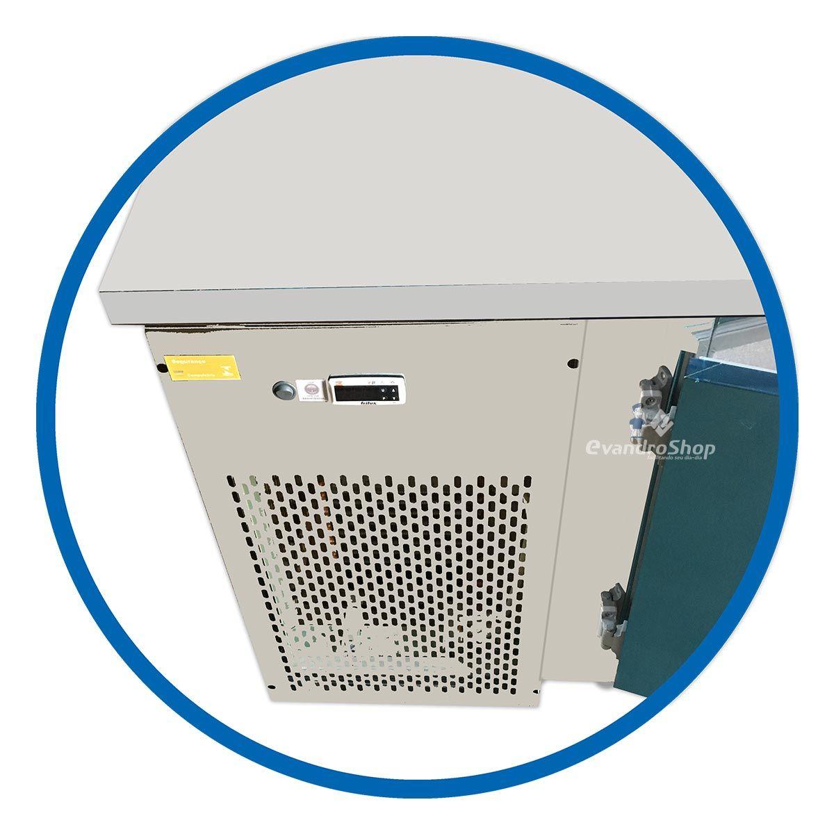 Balcão De Serviço 1,9M Ar Forçado Inox Com Encosto 2 Portas - Frilux - 110V
