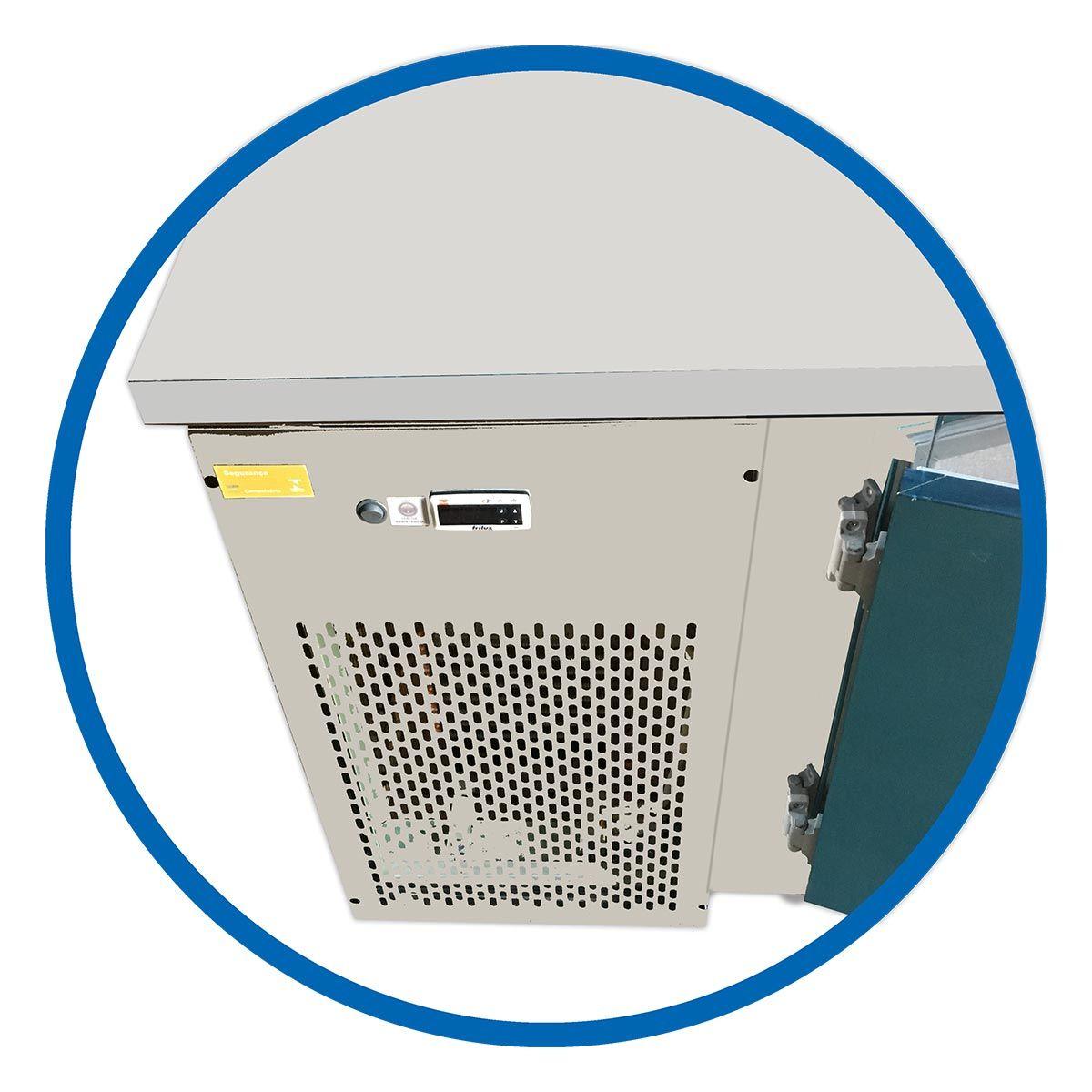 Balcão De Serviço 2,5M Ar Forçado Inox Para Congelados Com Encosto 220V 3 Portas - Frilux
