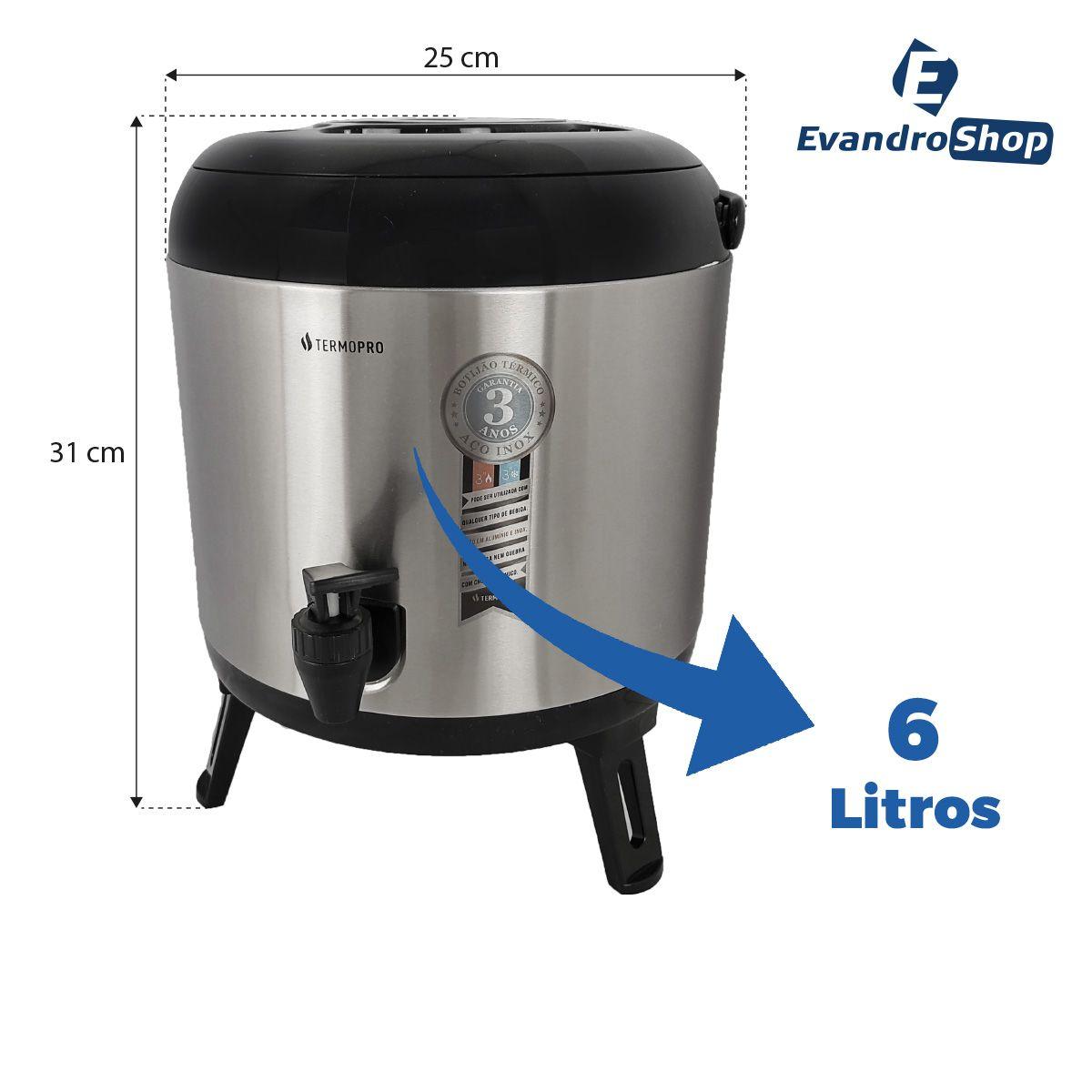 Botijão Térmico 6 Litros Inox - Termopro