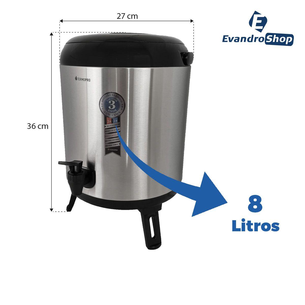 Botijão Térmico 8 Litros Inox - Termopro