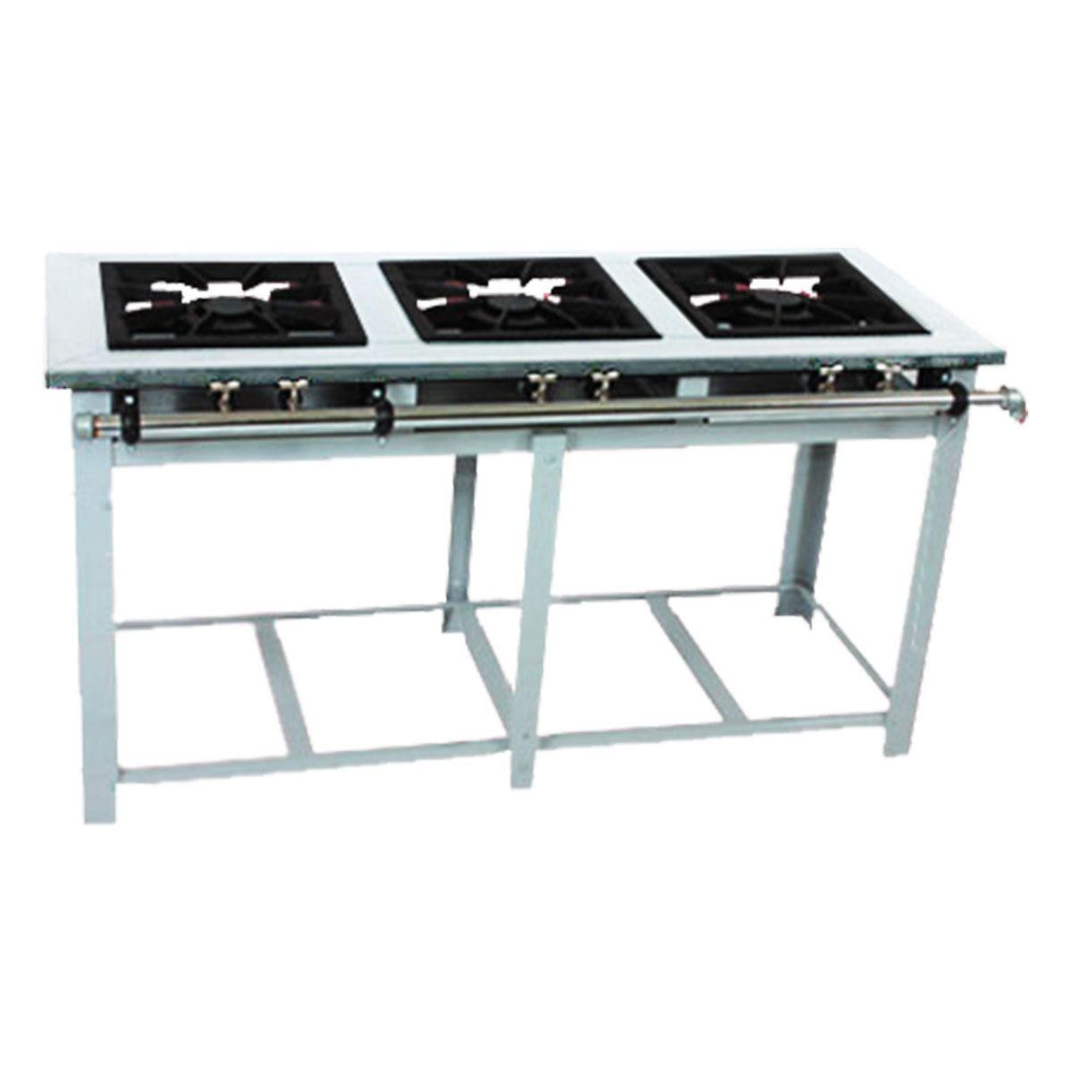 Fogão Industrial 3 Bocas 40X40 Baixa Pressão Maxi Inox Mi3 - Venâncio
