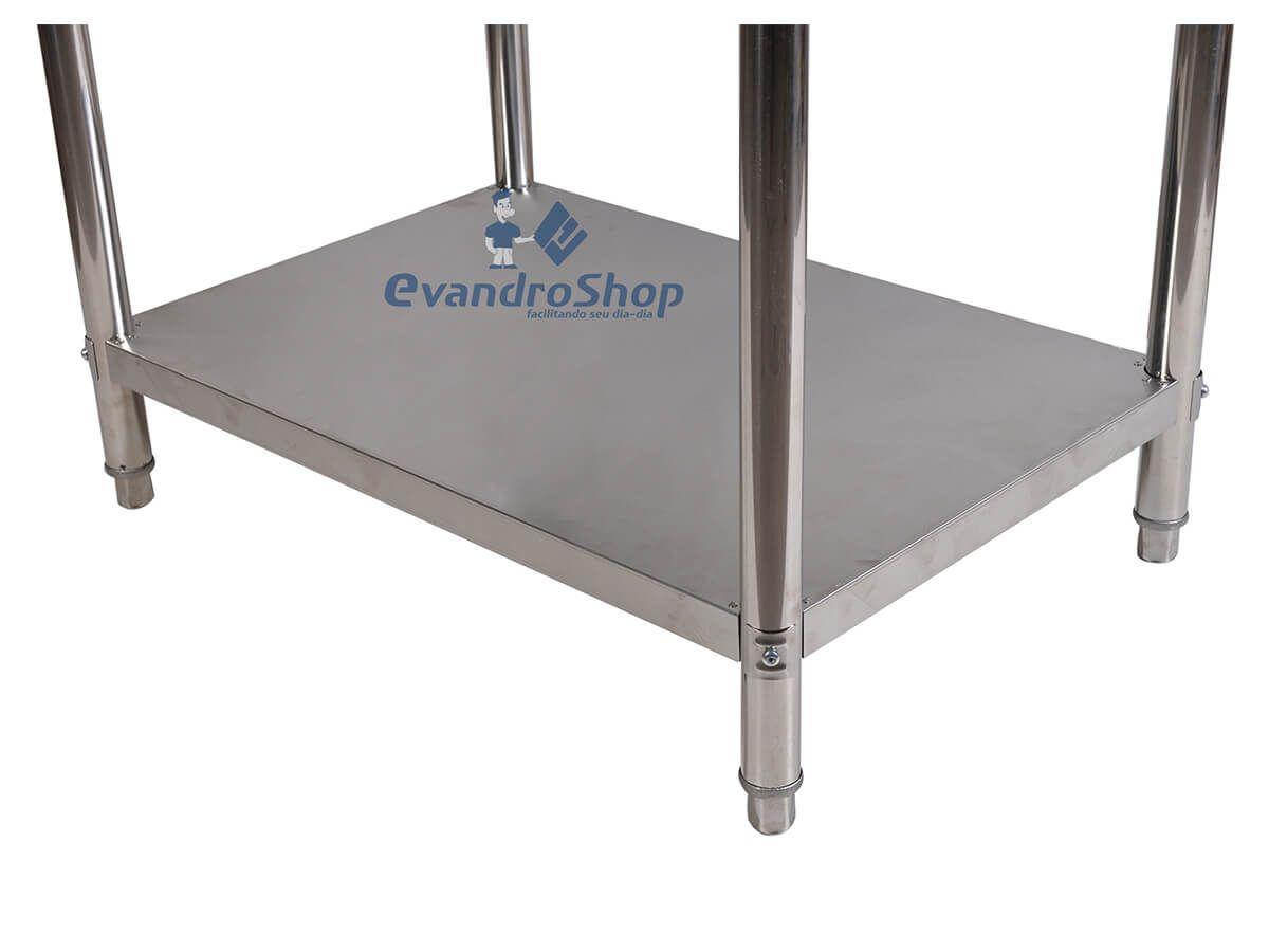 Mesa Industrial 100X70 Em Aço Inox Com Paneleiro Liso - Frigopro
