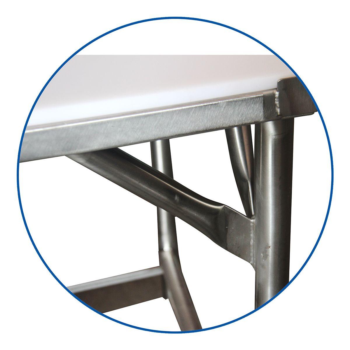 Mesa Industrial Açougue 150X65 Tampo Polietileno E Encosto - Fritomaq