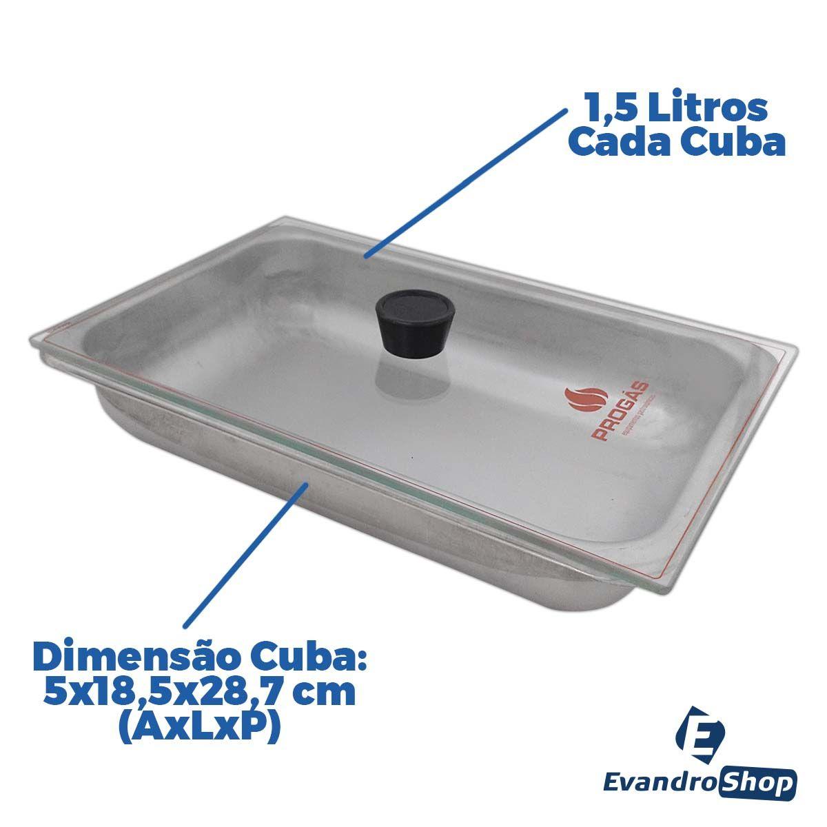 Rechaud Molheira A Gás 3 Cubas Tampa De Vidro Aço Inox PR-03G - Progás
