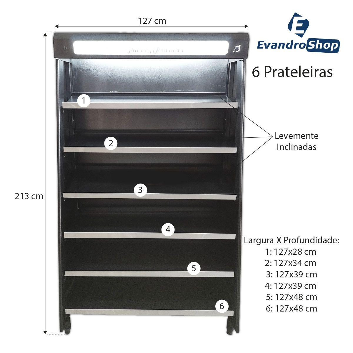 Vitrine Natural De Padaria Preta 1,30 Metros Com Led VASCAP-130 - Polar Refrigeração