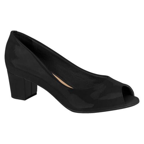 Sapato Peep Toe Beira Rio 4777300 Feminino Preto Bege Verniz