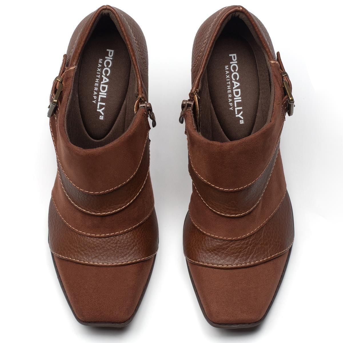 Bota Piccadilly Cano Curto Salto Grosso Fivela Ankle Boot 372004 Feminina