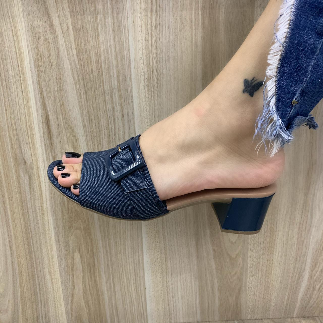 Tamanco Ramarim Casual Salto Grosso Jeans 196202 Feminino