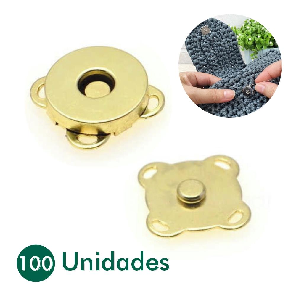 100 Botões Magnéticos Fecho Ímã De Costura Latonado 14mm