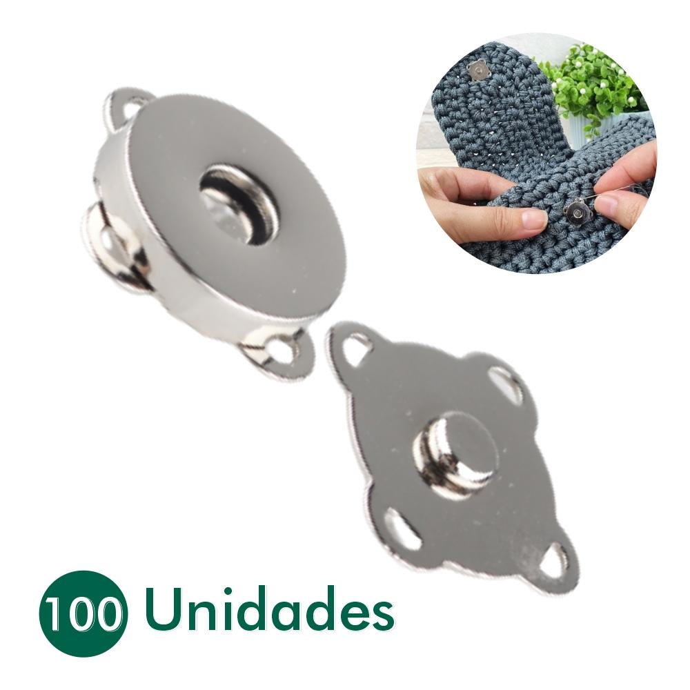 100 Botões Magnéticos Fecho Ímã De Costura Niquelado 14mm