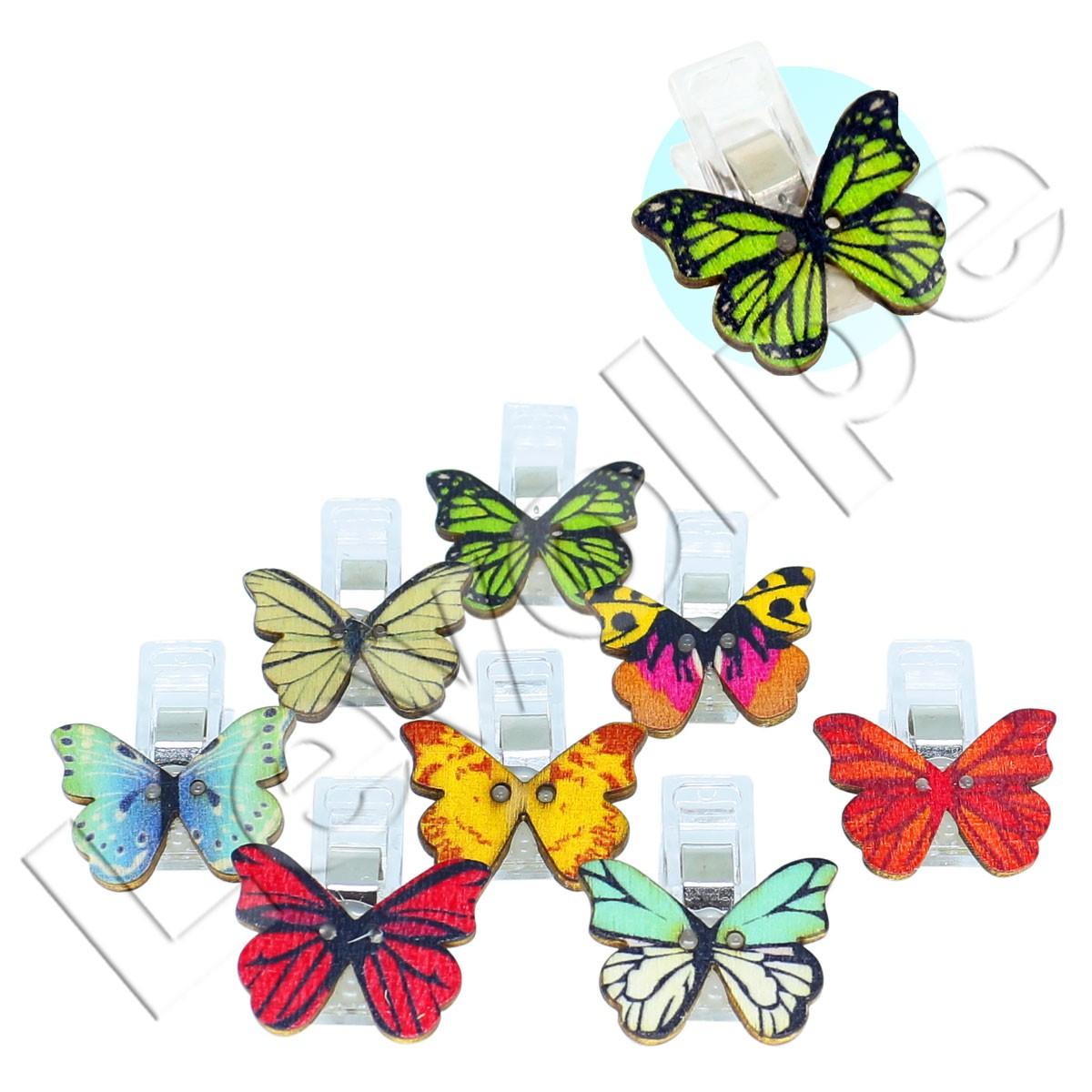 10 Mini Prendedor Clips Prender Plástico Pequenos Borboleta
