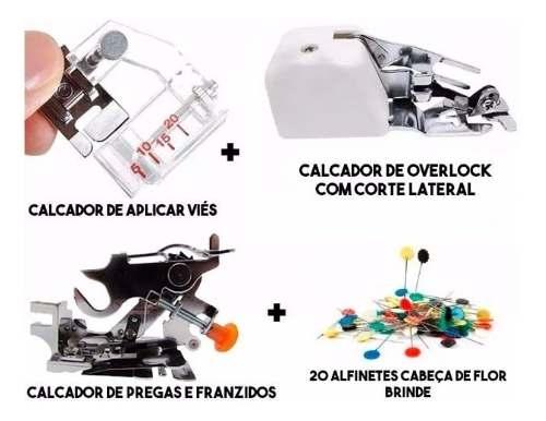 Kit Calcador De Overlock + Pregas Franzidos + Viés Regulável