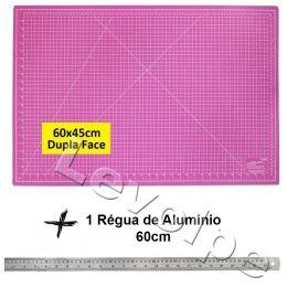 Base De Corte Rosa 60x45cm + Régua De Metal 60cm Patchwork
